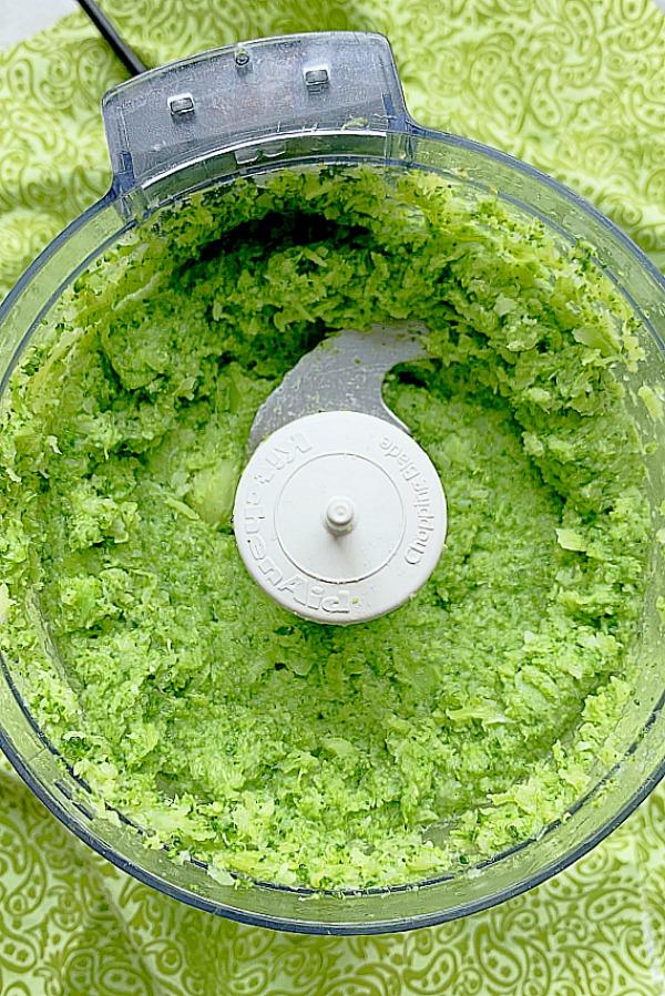 chopped broccoli in a food processor