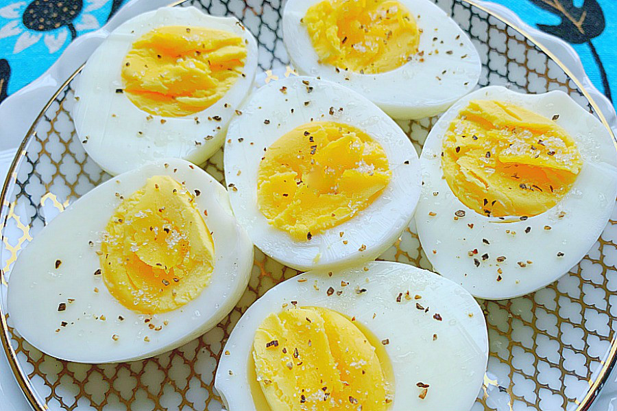 air fryer hard cooked eggs on a plate