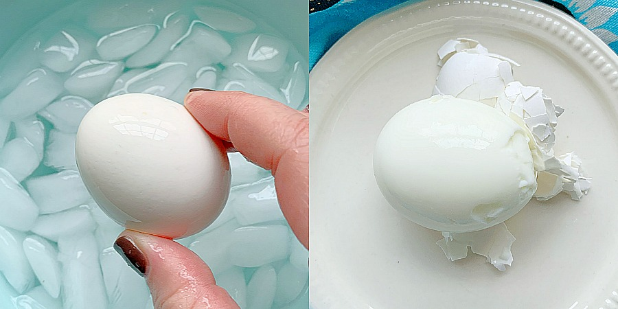 air fryer eggs in an ice bath and being peeled