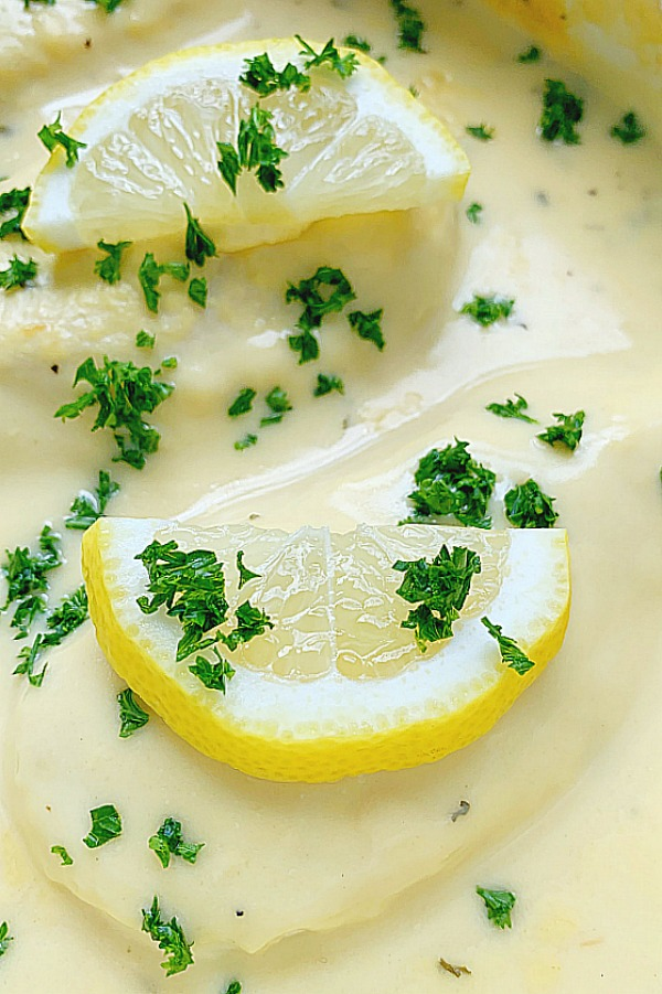 creamy lemon chicken after being baked in a casserole dish