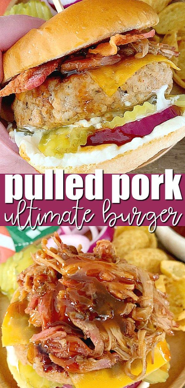 Pulled Pork Burger | Foodtastic Mom #ad #ohpork #pulledporkburger #burgerrecipes #porkrecipes via @foodtasticmom