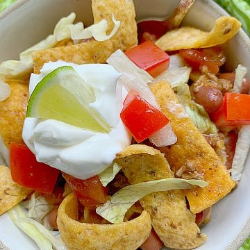 serving of frito pie in a bowl