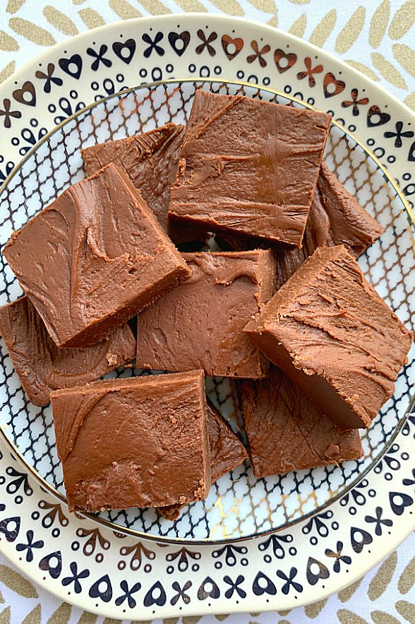 mom's microwave fudge on a plate