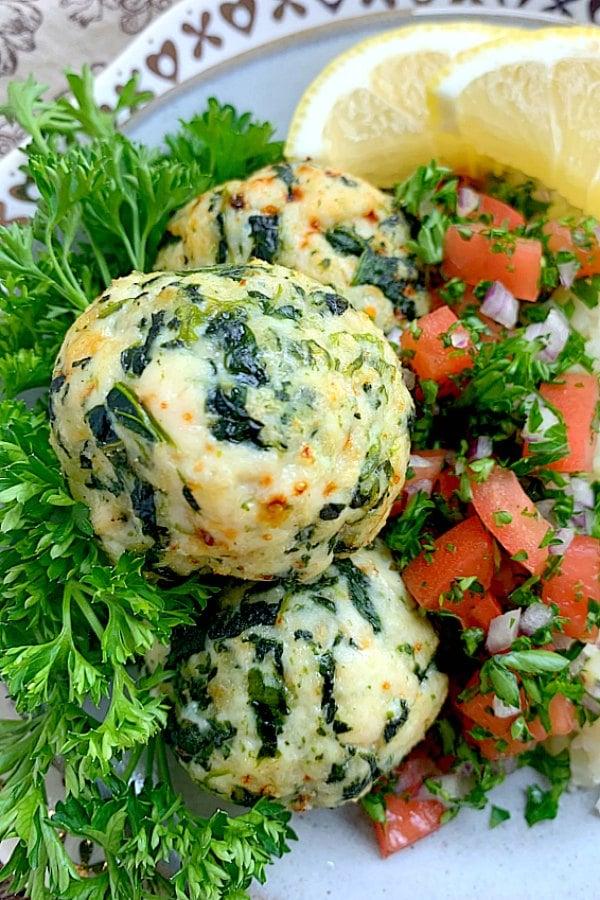 close up of air fryer greek turkey meatballs