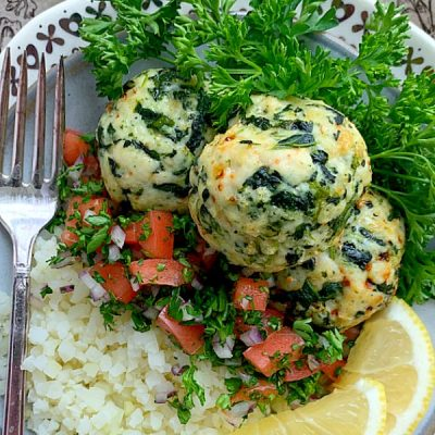 air fryer turkey meatballs on a plate with cauliflower rice