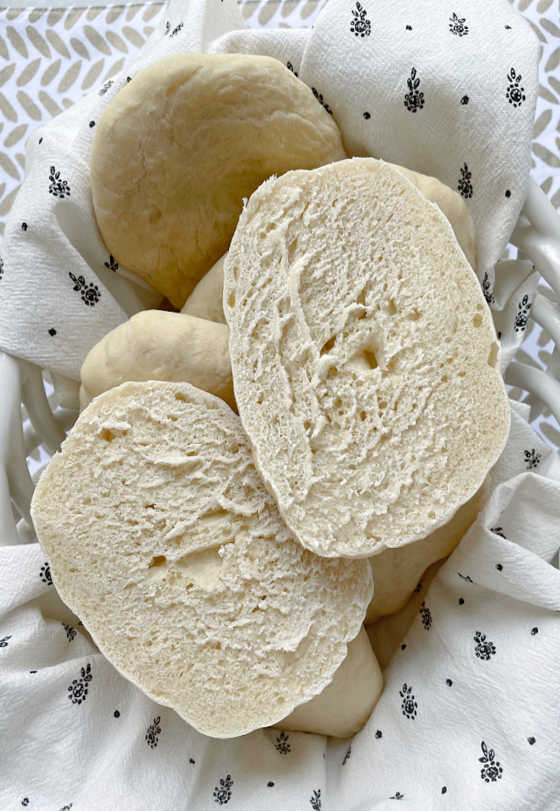 Panini Bread sliced in half