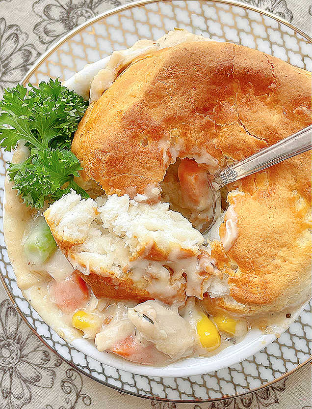 taking a bite of the air fryer pot pie