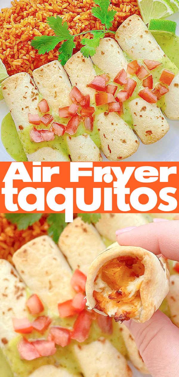 Air Fryer Taquitos | Foodtastic Mom #airfryerrecipes #taquitoschicken #taquitosinairfryer #airfryertaquitos via @foodtasticmom