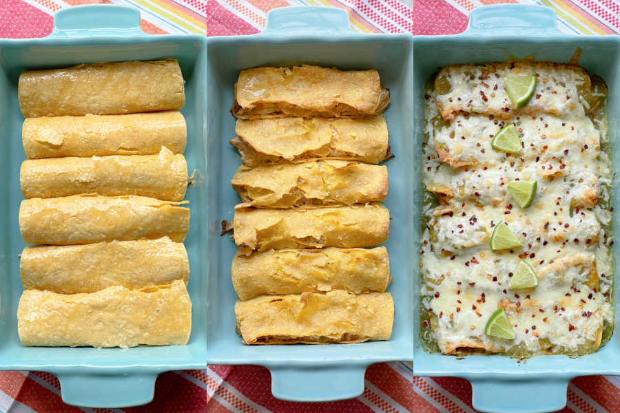 green chicken enchiladas before and after baking