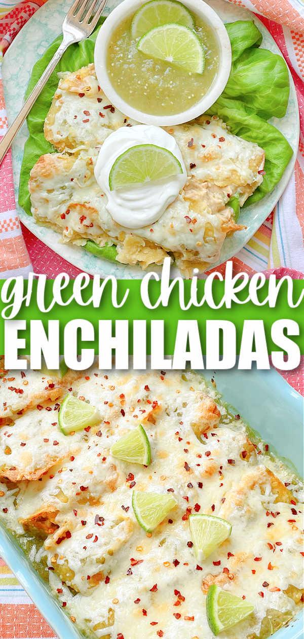 Green Chicken Enchiladas | Foodtastic Mom #enchiladas #enchiladaschicken #mexicanfoodrecipes via @foodtasticmom