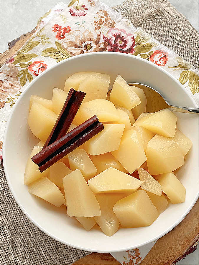a bowl full of stewed pears