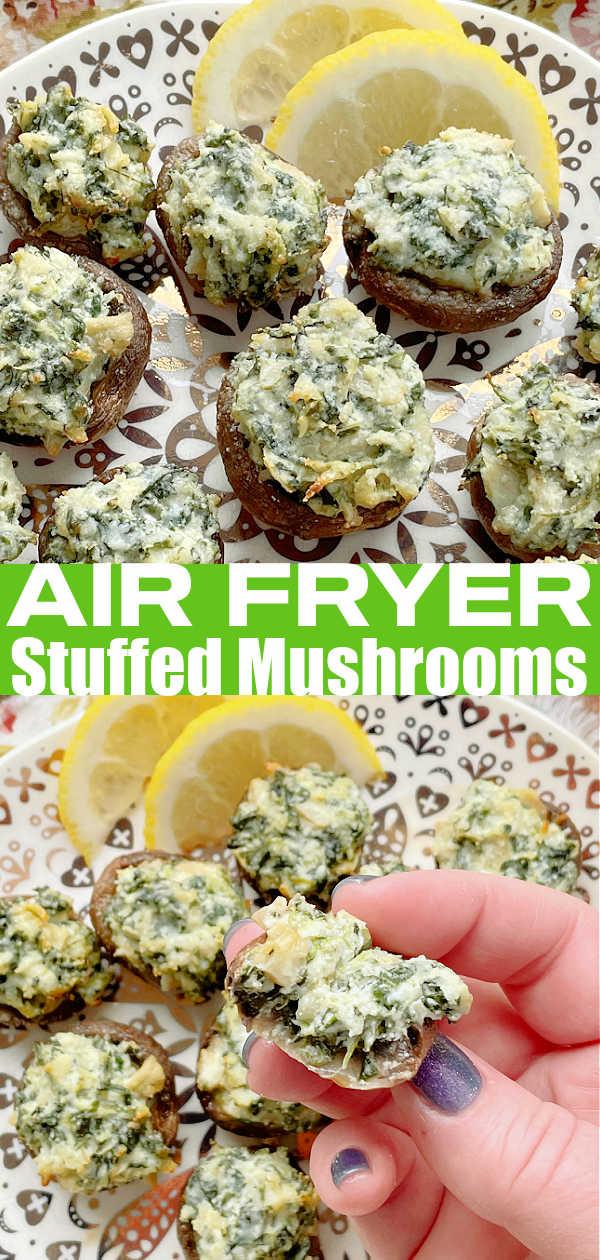 Air Fryer Stuffed Mushrooms | Foodtastic Mom #airfryerrecipes #airfryerstuffedmushrooms #mushroomrecipes #stuffedmushroomseasy via @foodtasticmom