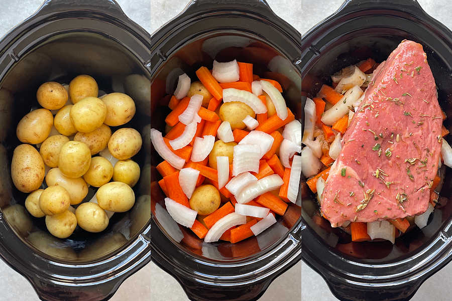 layering the ingredients in the crockpot insert for slow cooker sirloin tip roast