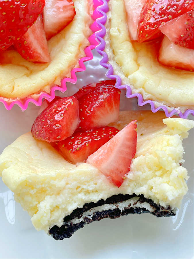 taking a bite out of air fryer cheesecake