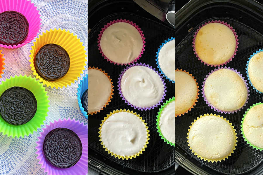 air fryer cheesecake collage