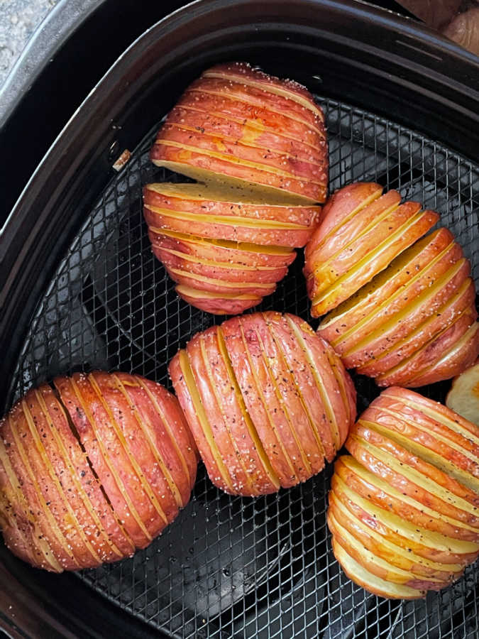 hasselback potatoes in the air fryer basket