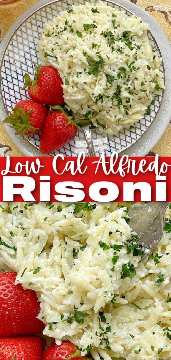 Alfredo Risoni | Foodtastic Mom #risonirecipes #risonipasta #lowcalorierecipes #alfredo via @foodtasticmom
