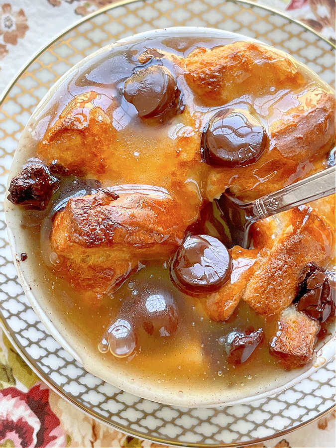bread pudding drowned in bourbon butter sauce