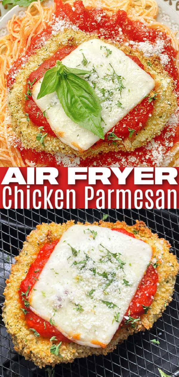 Air Fryer Chicken Parmesan | Foodtastic Mom #airfryerrecipes #chickenrecipes #airfryerchickenparmesan #chickenparmesan via @foodtasticmom