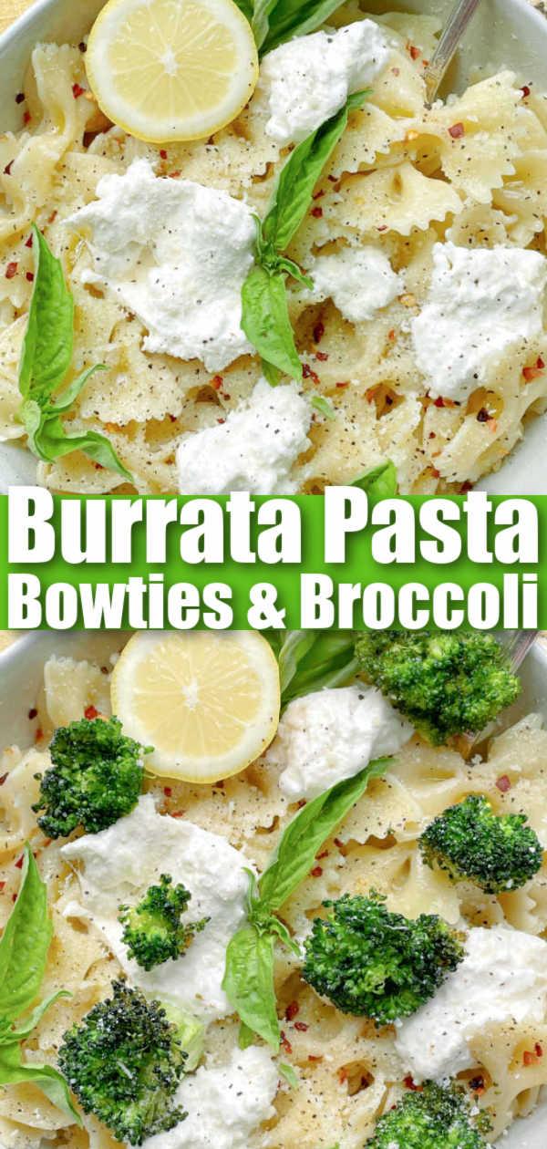 Burrata Pasta | Foodtastic Mom #burratapasta #pastarecipes #bowtiesandbroccoli via @foodtasticmom