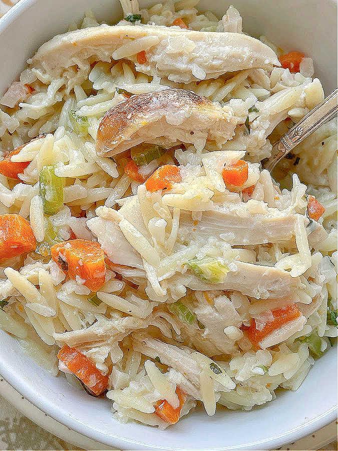 creamy chicken risoni in a bowl