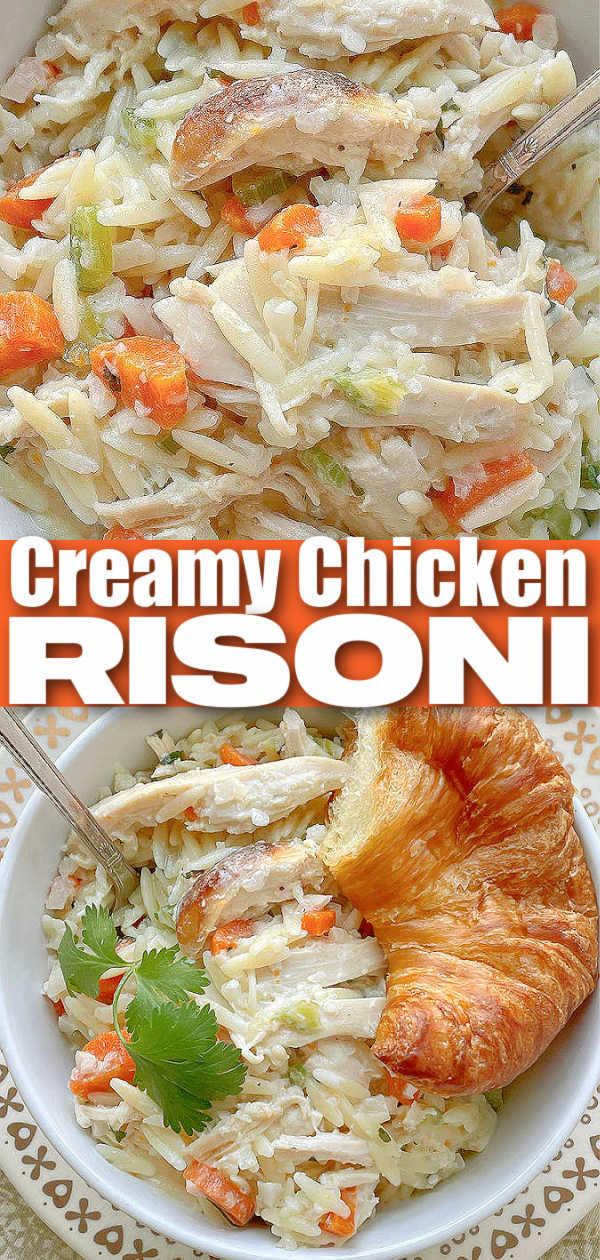 Creamy Chicken Risoni   Foodtastic Mom #chickenrecipes #risoni #chickenrisoni via @foodtasticmom