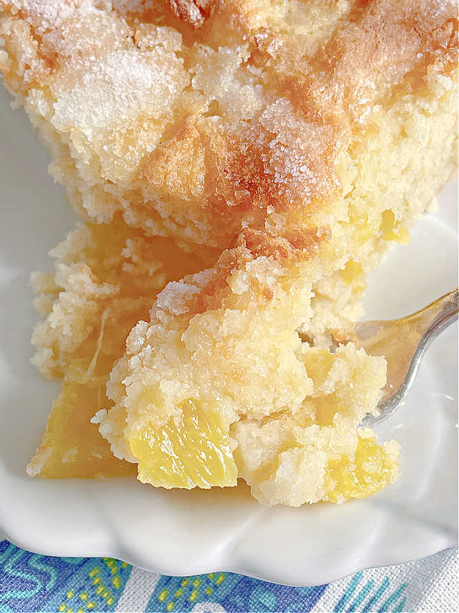 showing a close up of a slice of the pineapple cake