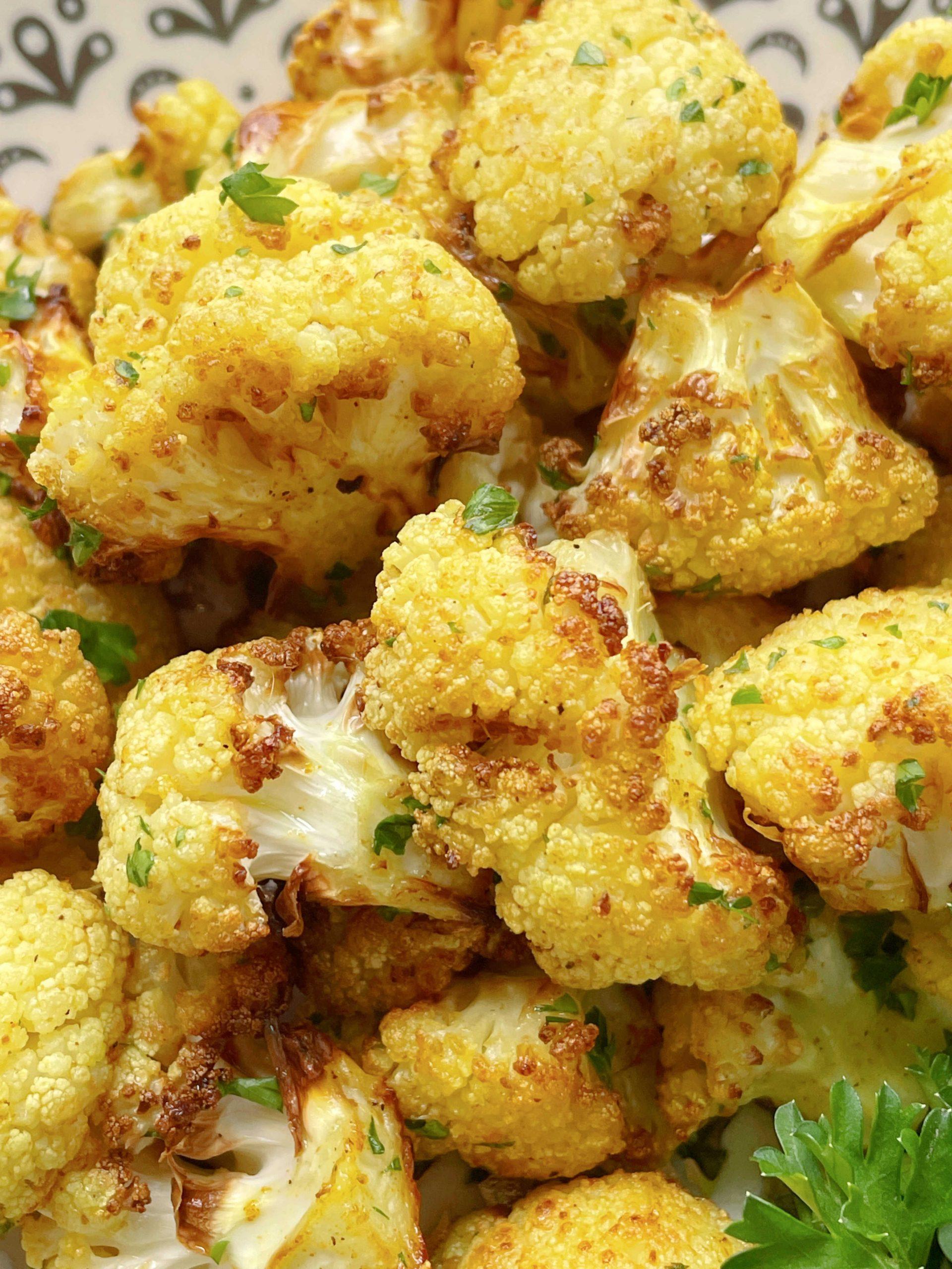close up photo of air fryer cauliflower