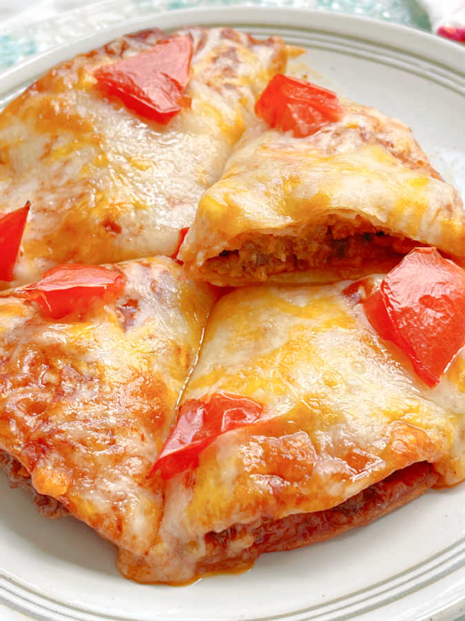 showing a slice of air fryer mexican pizza