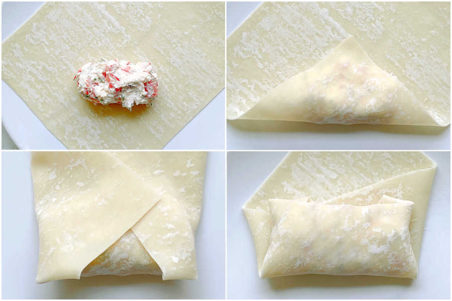 how to fold egg roll wrappers