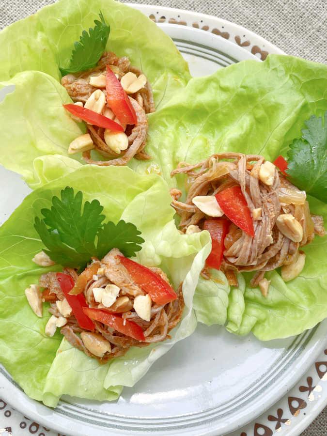 slow cooker satay pork in lettuce wraps