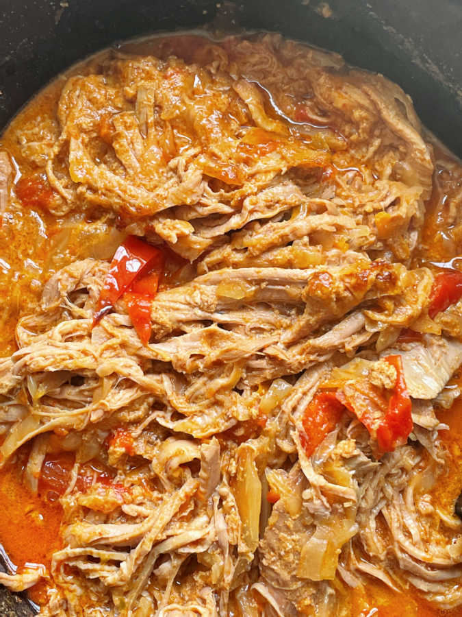 satay pork cooking in the slow cooker