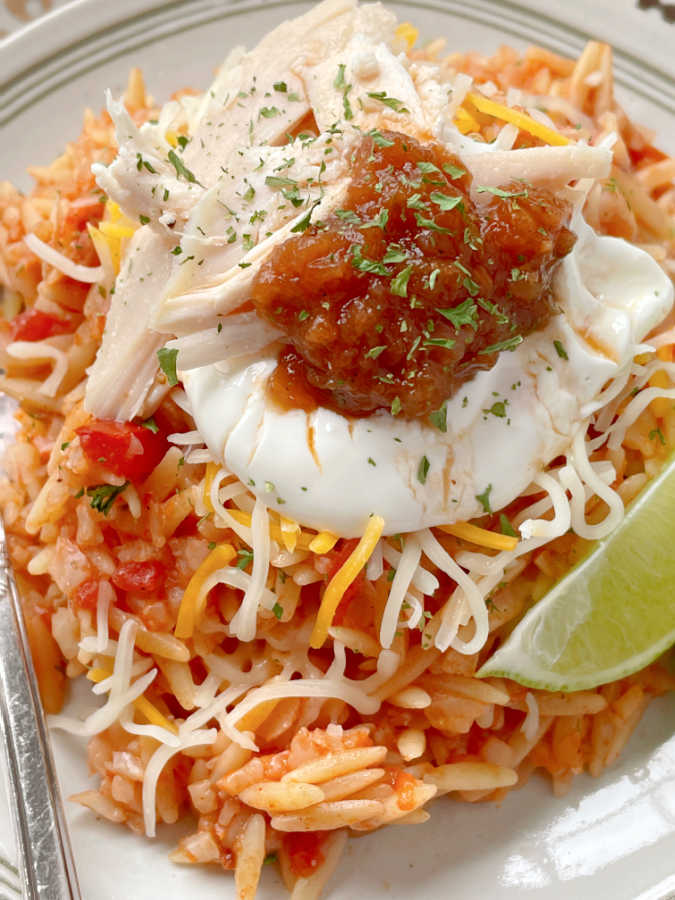 Spanish Risoni topped with chicken