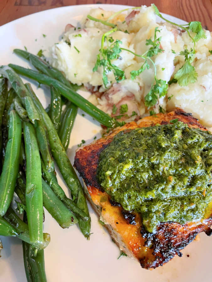 chimichurri salmon at the café in key west florida