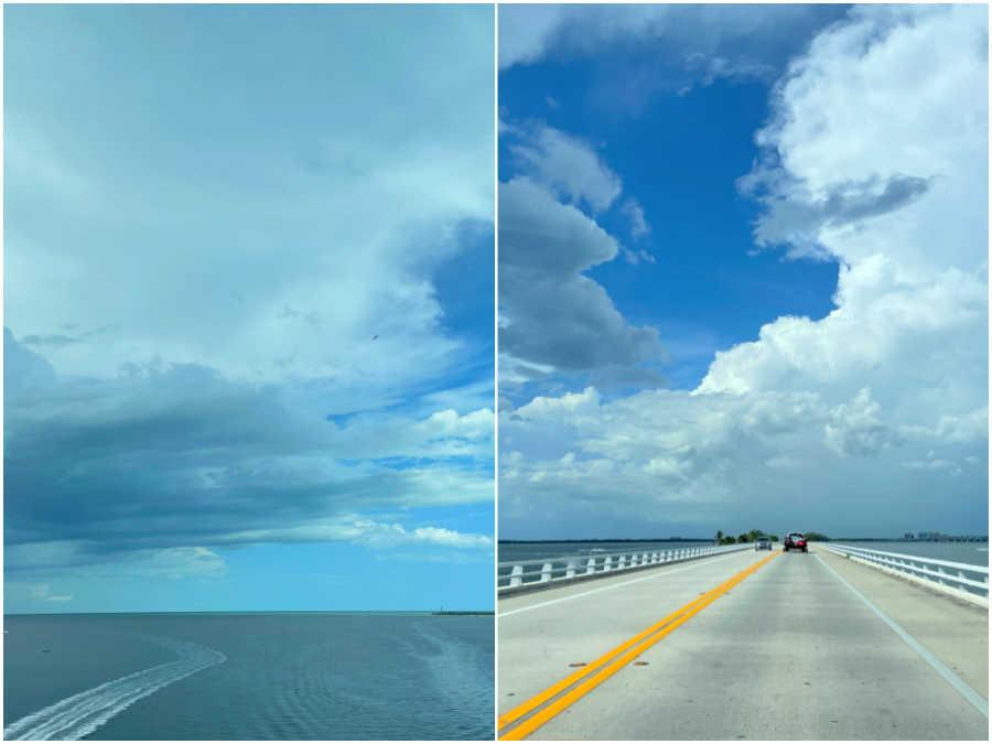 driving over the bridge to sanibel island florida