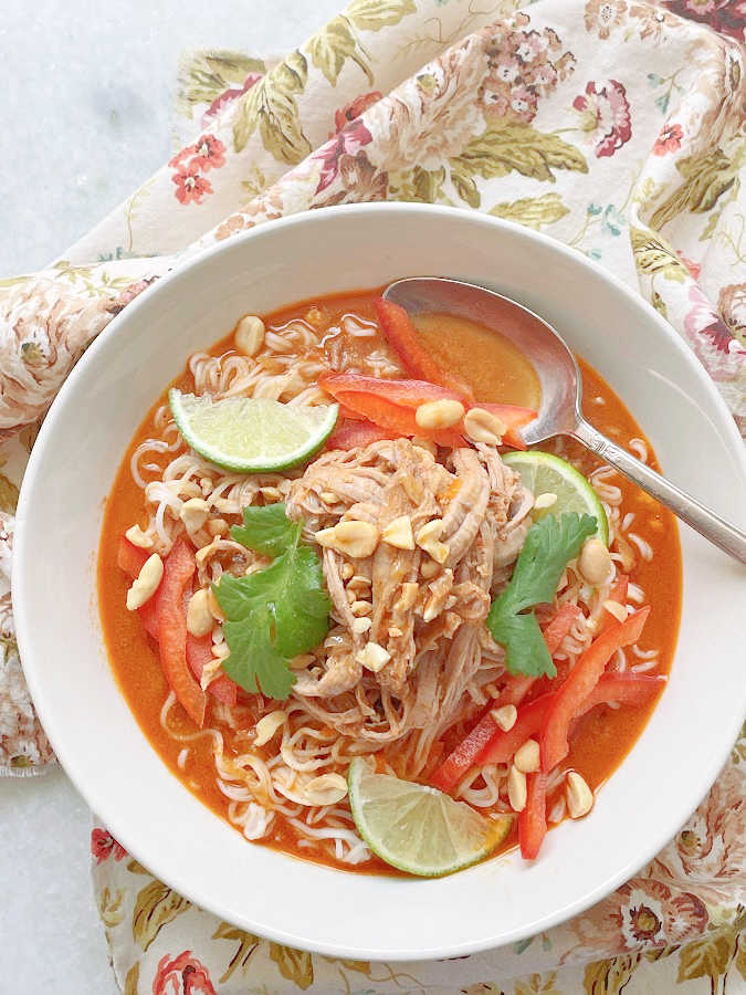 overhead view of thai ramen noodle bowl