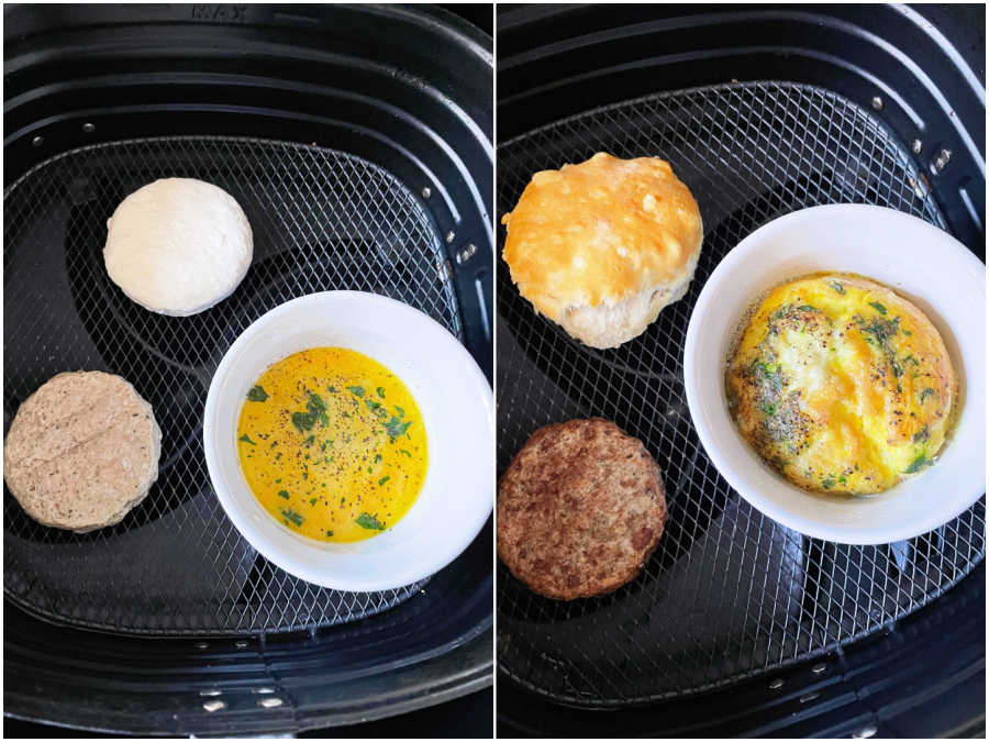 showing before and after cooking breakfast sandwich in the air fryer