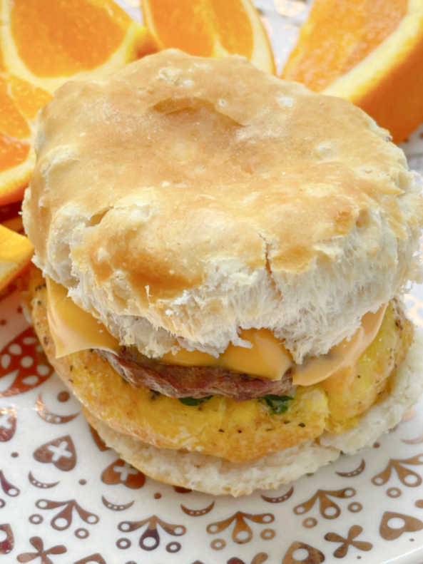top view of the sausage egg and cheese air fryer breakfast sandwich
