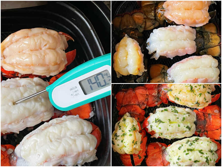lobster tail both raw and cooked in the air fryer basket