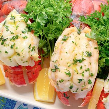 Air Fryer Lobster Tail | Foodtastic Mom #airfryerrecipes #lobstertails #howtocooklobstertail #howtobutterflylobstertail #airfryerlobstertail