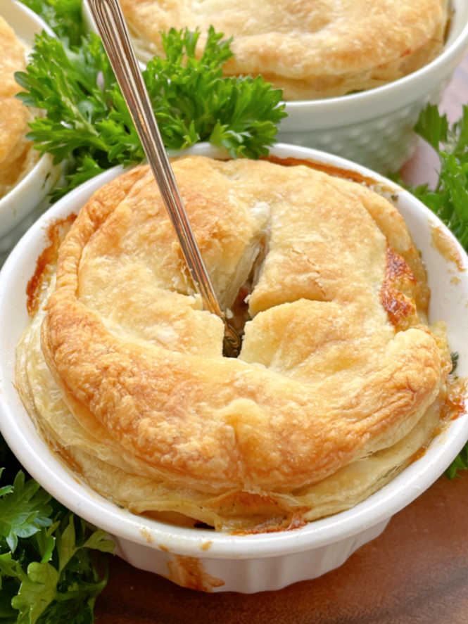 slow cooker steak pie with a fork in it