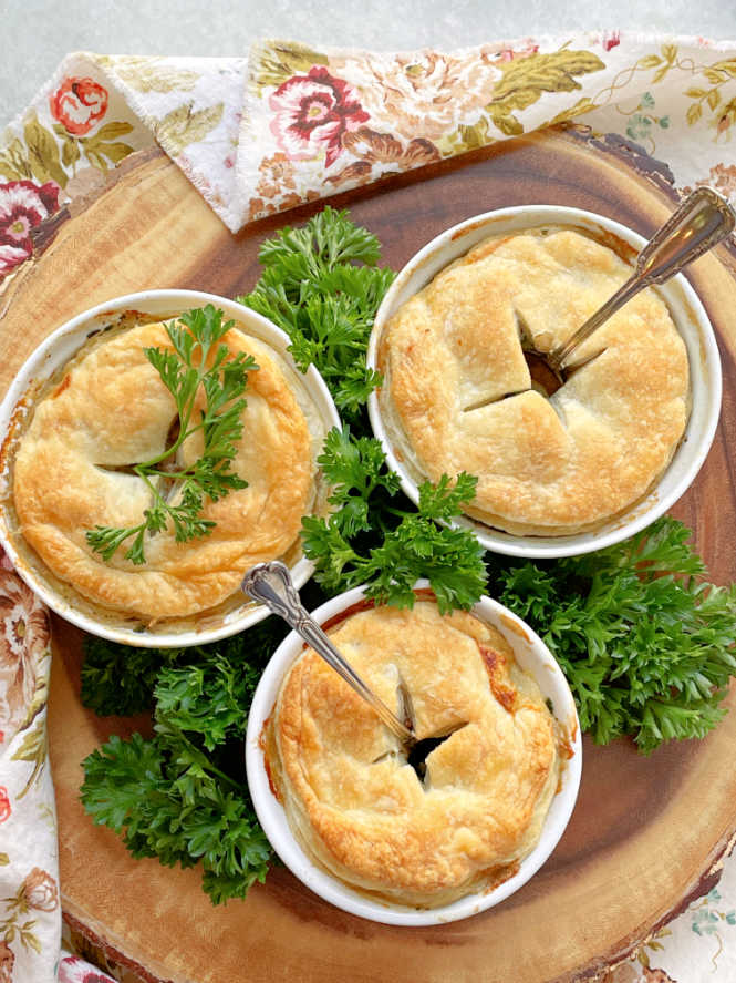 three slow cooker steak pies, just out of the oven