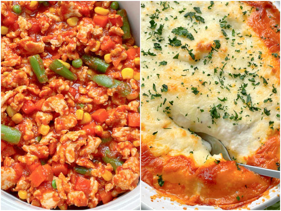 showing the turkey filling and the mashed potato topping of healthy shepherd's pie