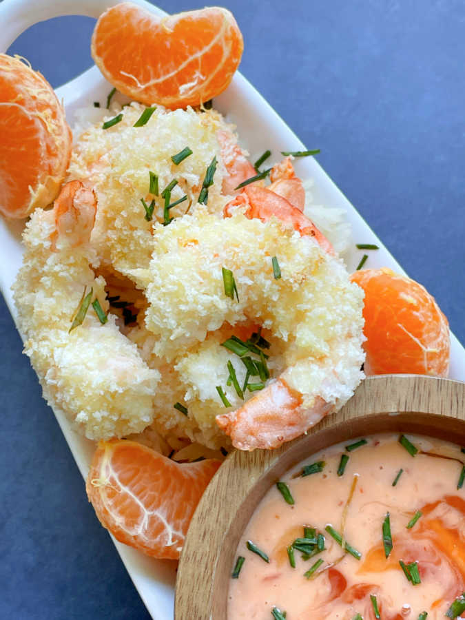 air fryer bang bang shrimp on a platter