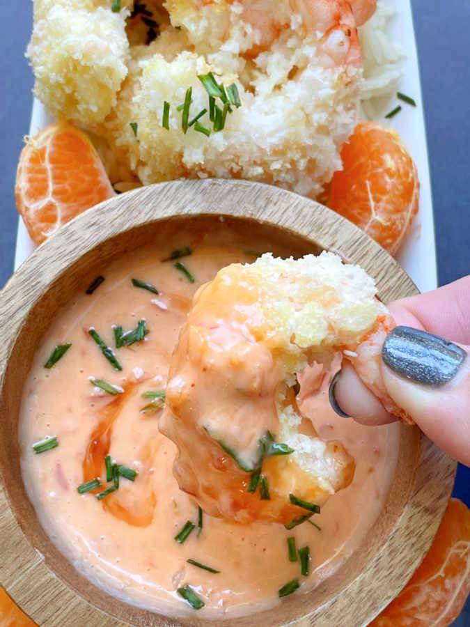 air fryer shrimp dipped in bang bang sauce